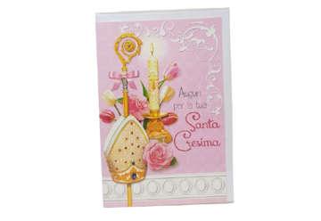 Immagine di Biglietto auguri Santa Cresima rosa