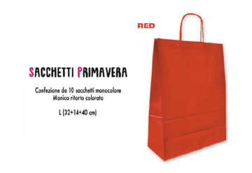 Immagine di Confezione 10 Shopper rosse in carta 40x32cm