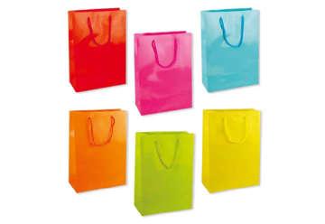 Immagine di Confezione 12 Shopper Colori assortiti M 23x18cm