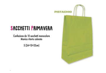 Immagine di Confezione 10 Shopper verde in carta S 24x32cm