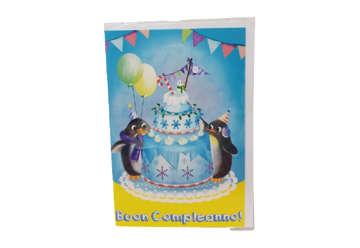 Immagine di Biglietto auguri compleanno pinguini