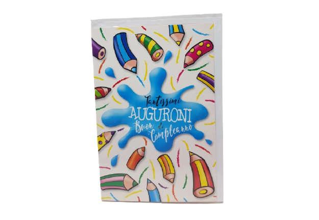 Immagine di Biglietto auguri compleanno matite colorate