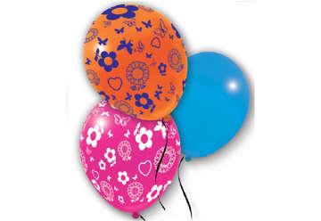 Immagine di Busta 10 palloncini stampa Fiori e Farfalle