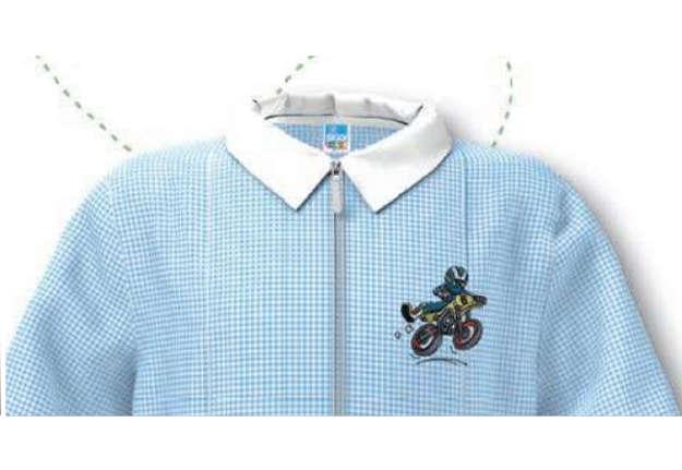 Immagine di Grembiule bambino quadretti bianco/azzurro 5 anni
