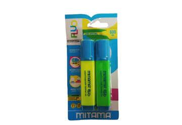 Immagine di Evidenziatore Mitama Fluo, punta scalpello 5mm, Colori Ass.ti, Bl. 2 pz