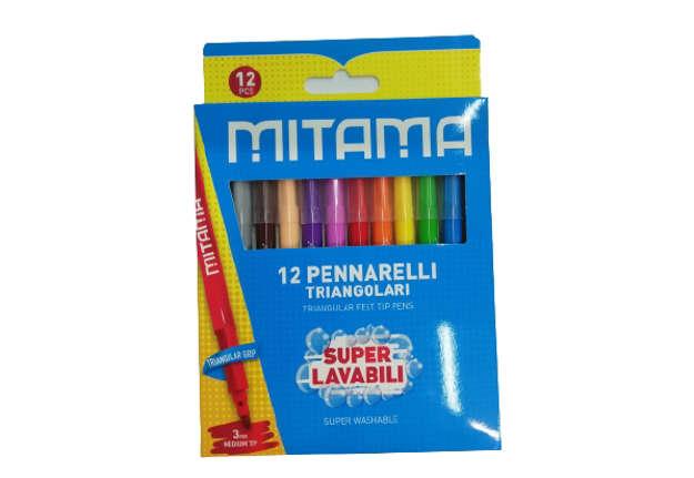 Immagine di Pennarelli Mitama Super Lavabili, presa Triang., Punta fine, Scat. 12 pz